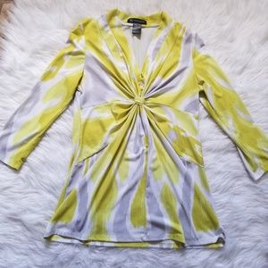 Inc International Concepts yellow gray blouse top